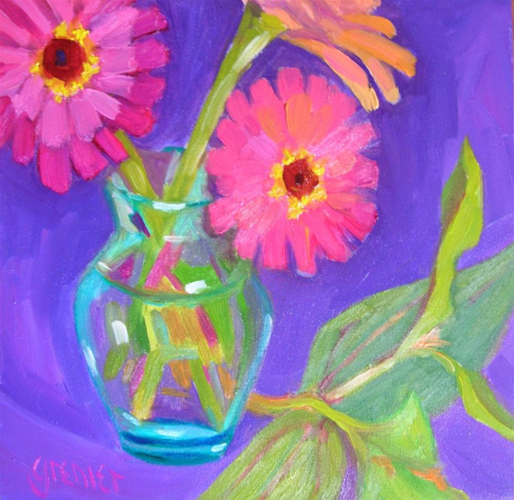 """Pink Zinnias"" original fine art by jean grenier"