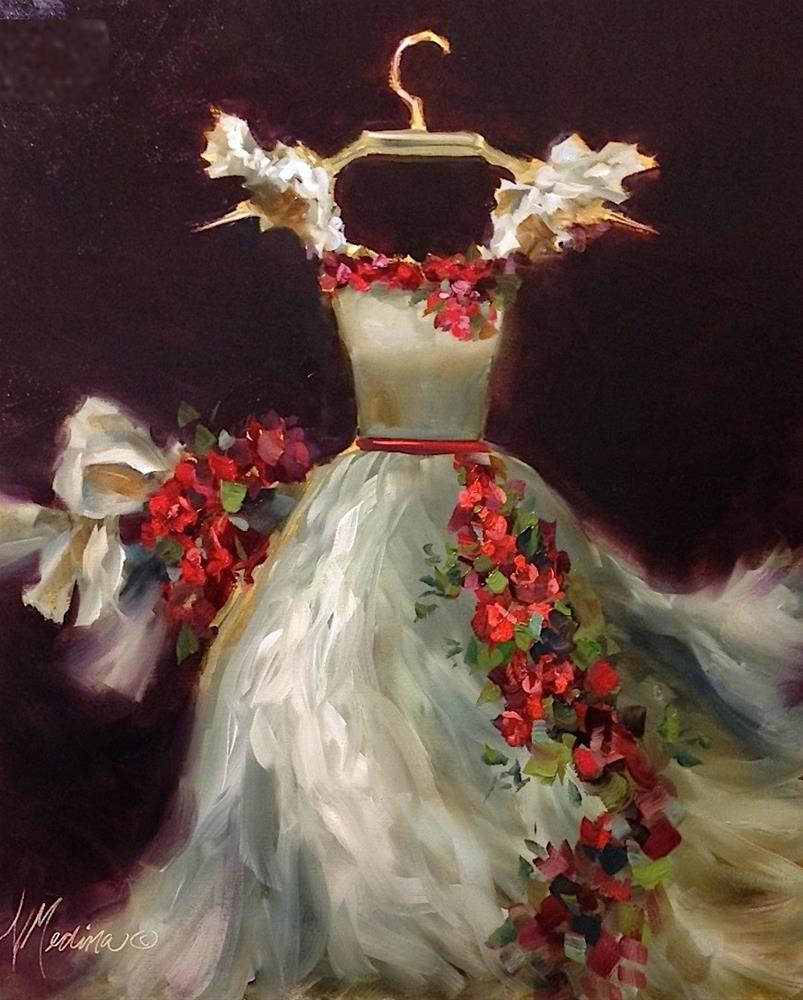 """""""A True Story of Romance and Fashion ~ She Wore a White Dress With Roses - Paintings by Nancy Medina"""" original fine art by Nancy Medina"""