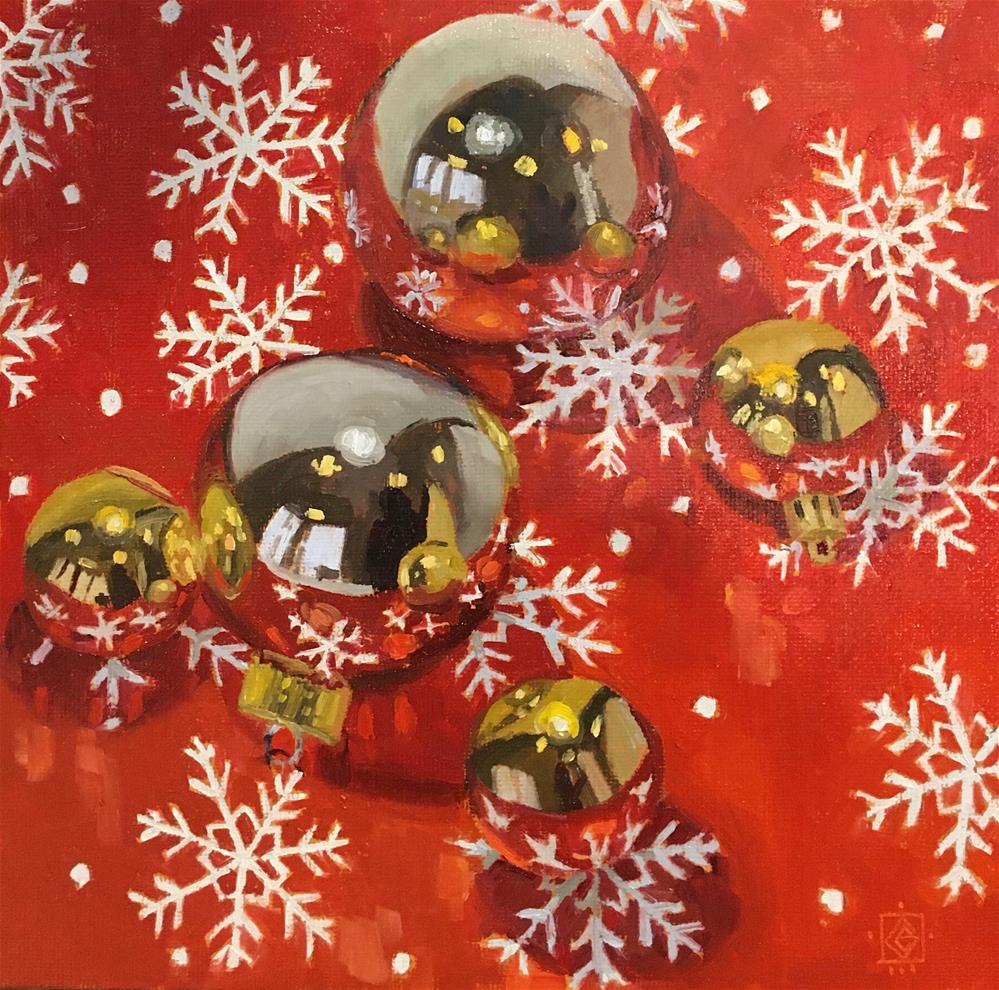 """Festive Baubles"" original fine art by Carol Granger"