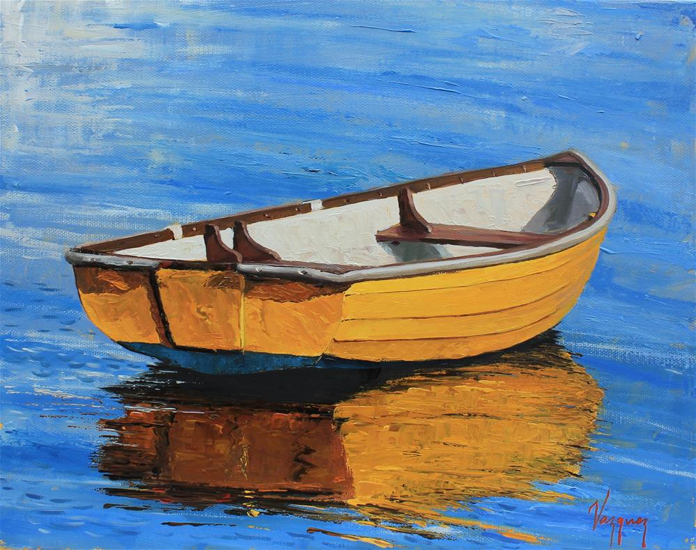 """Yellow boat "" original fine art by Marco Vazquez"