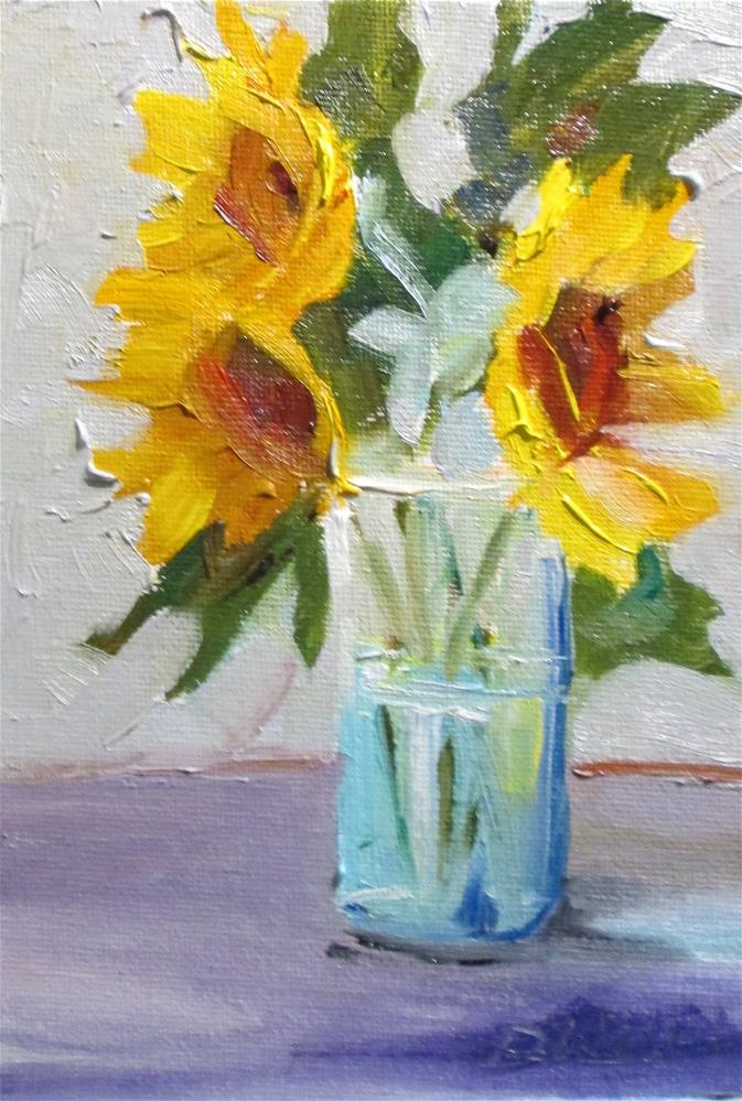 """Vase of Sunflowers"" original fine art by Delilah Smith"