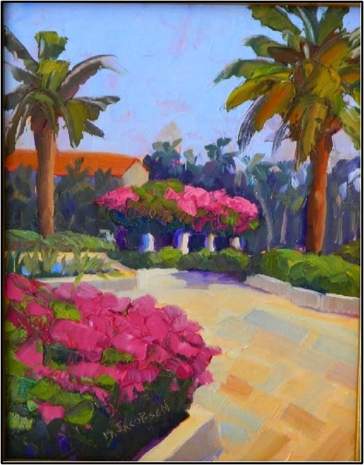 """Towards the Pergola, plein air, 11x14, pink, bougainvillea, Florida gardens, Society fo the Four A"" original fine art by Maryanne Jacobsen"