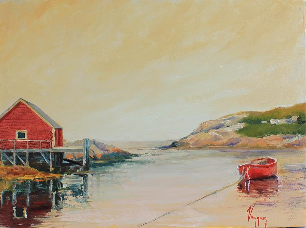 """""""Red rowing boat"""" original fine art by Marco Vazquez"""
