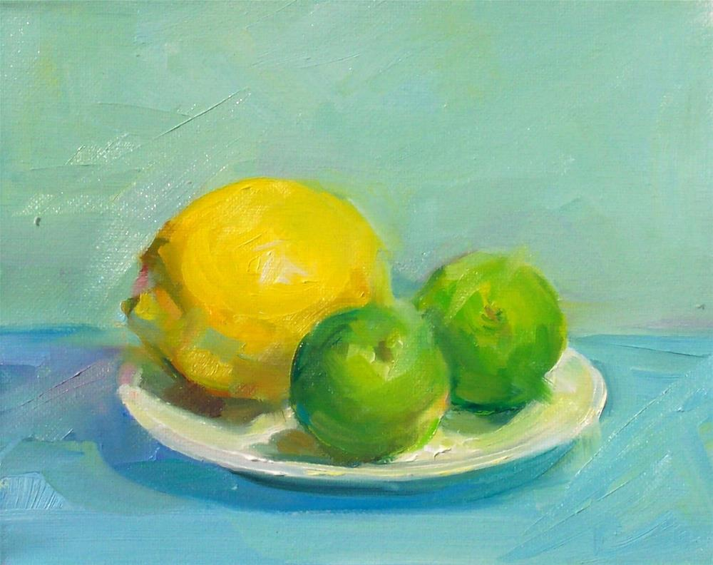"""Lemon and Limes,still life,oil painting,8x10,price$225"" original fine art by Joy Olney"