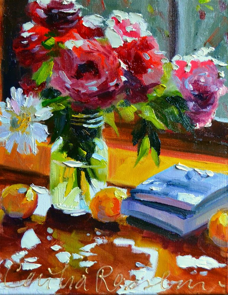 """PEONIES IN A MASON JAR"" original fine art by Cecilia Rosslee"
