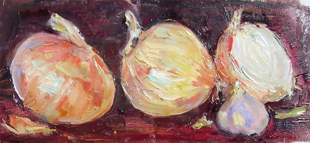 """More Onions and Garlic,still life,oil on canvas,4x10,priceNFS"" original fine art by Joy Olney"