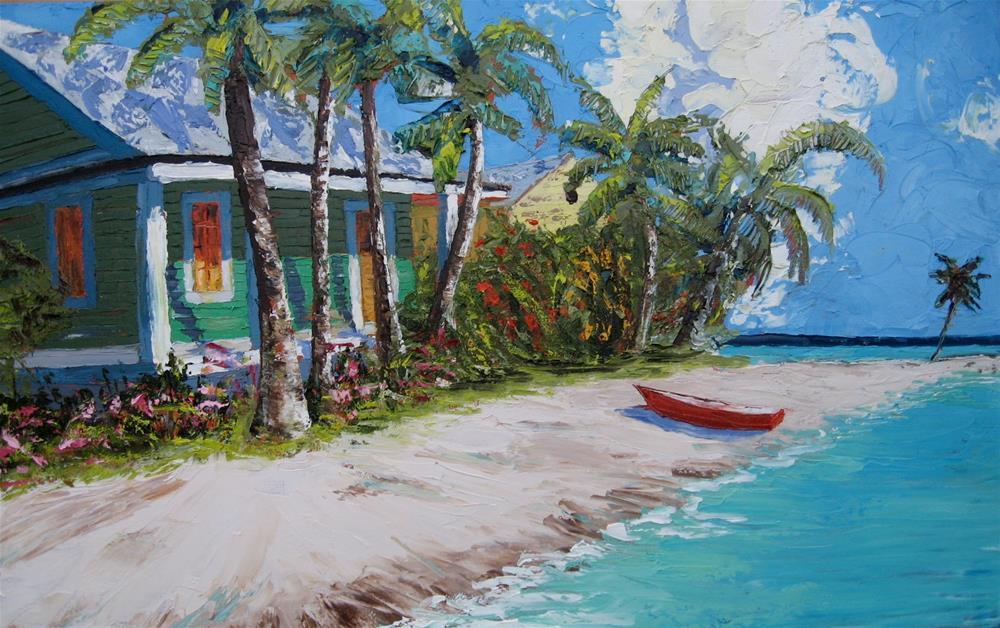"""""""Green Beach House"""" original fine art by Darryl Freeman"""