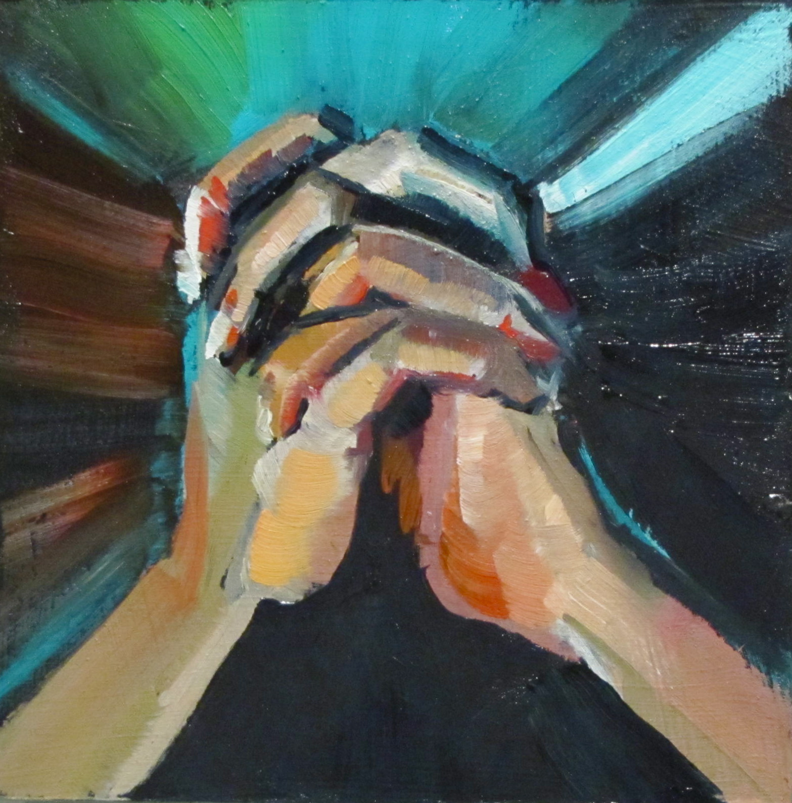 """Hands oil 4x4  figurative# 362"" original fine art by Christine Holzschuh"