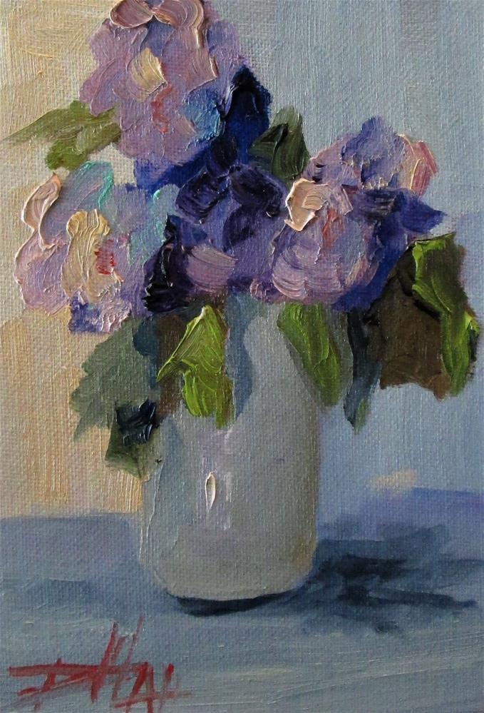 """Purple Flowers in Vase"" original fine art by Delilah Smith"