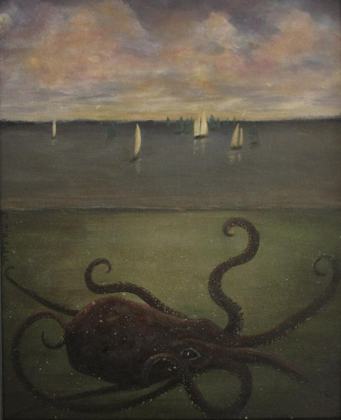 """Kraken 2 - Man vs. Beast"" original fine art by christina glaser"