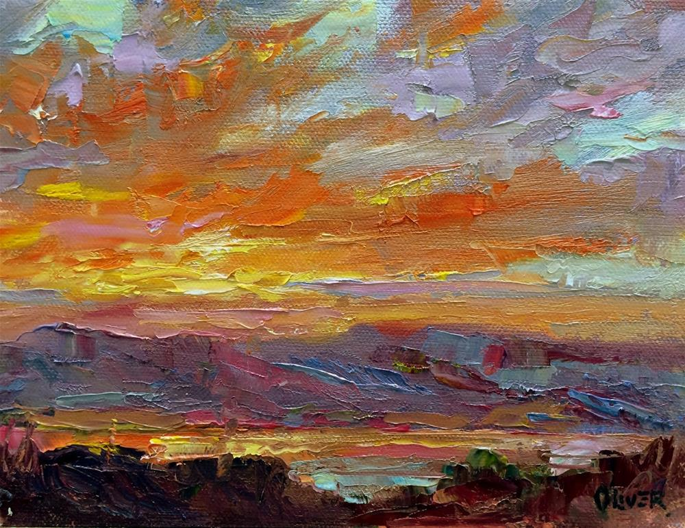 """Sunrise At Caballo, NM. Day 14"" original fine art by Julie Ford Oliver"