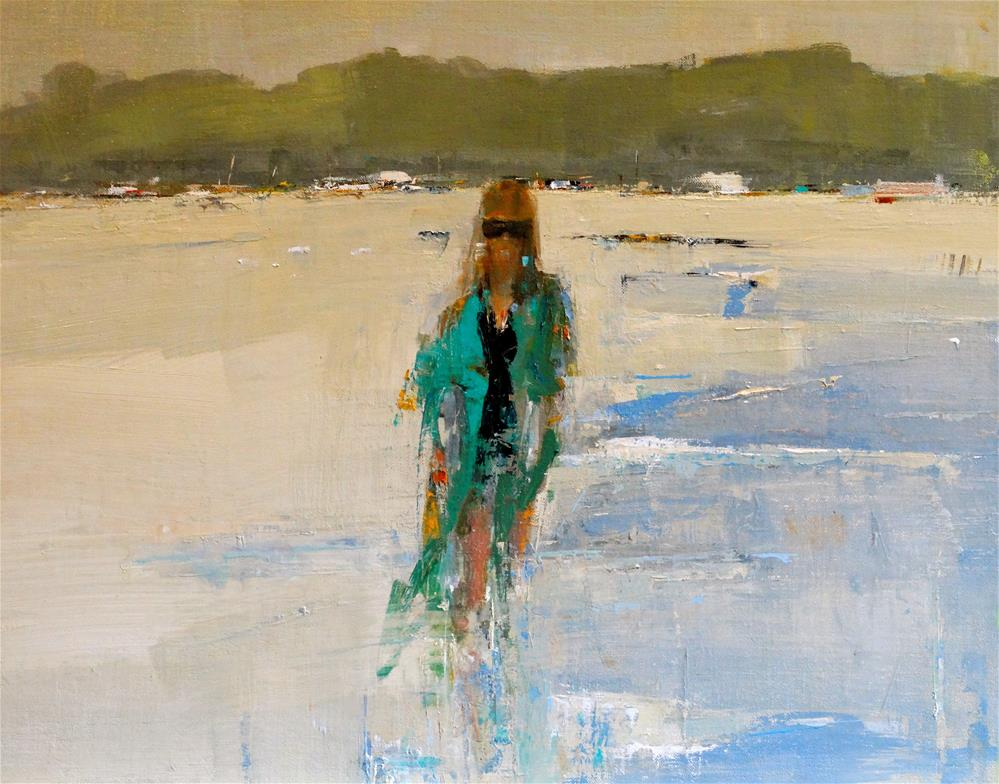 """Midday at Beach 16x20 oil 2015"" original fine art by Deborah R Hill"