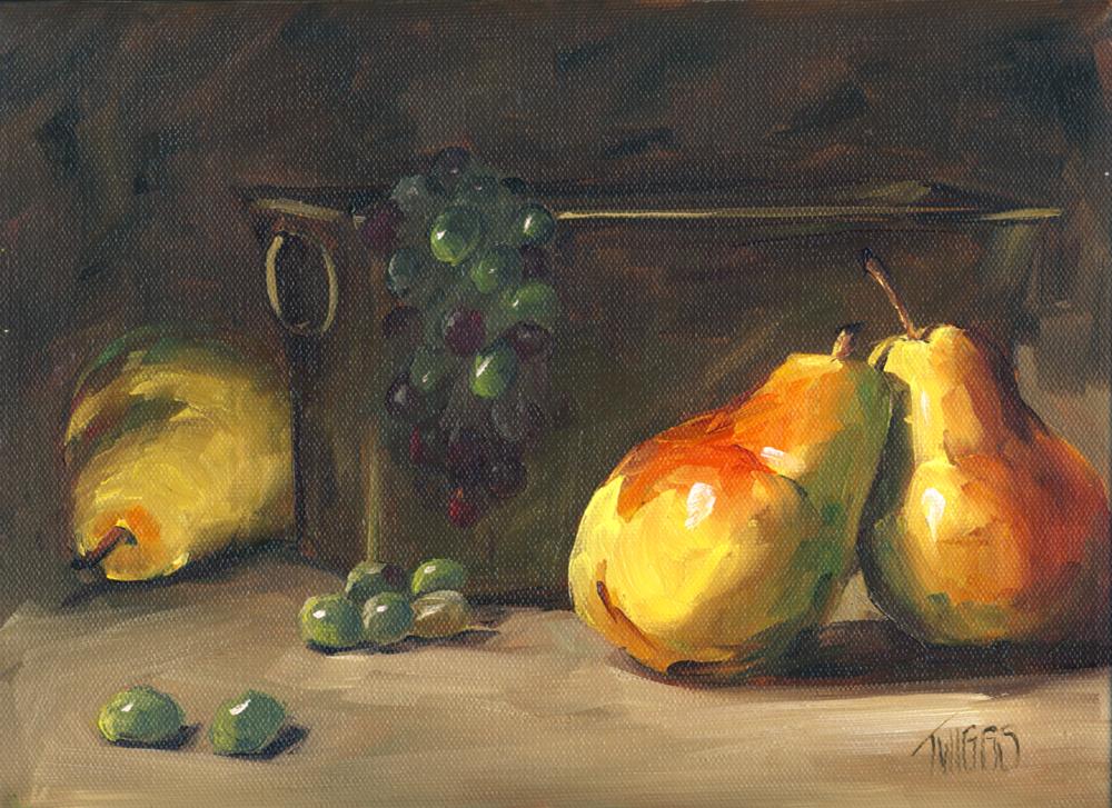 """""""Pear Affair"""" original fine art by Lori Twiggs"""