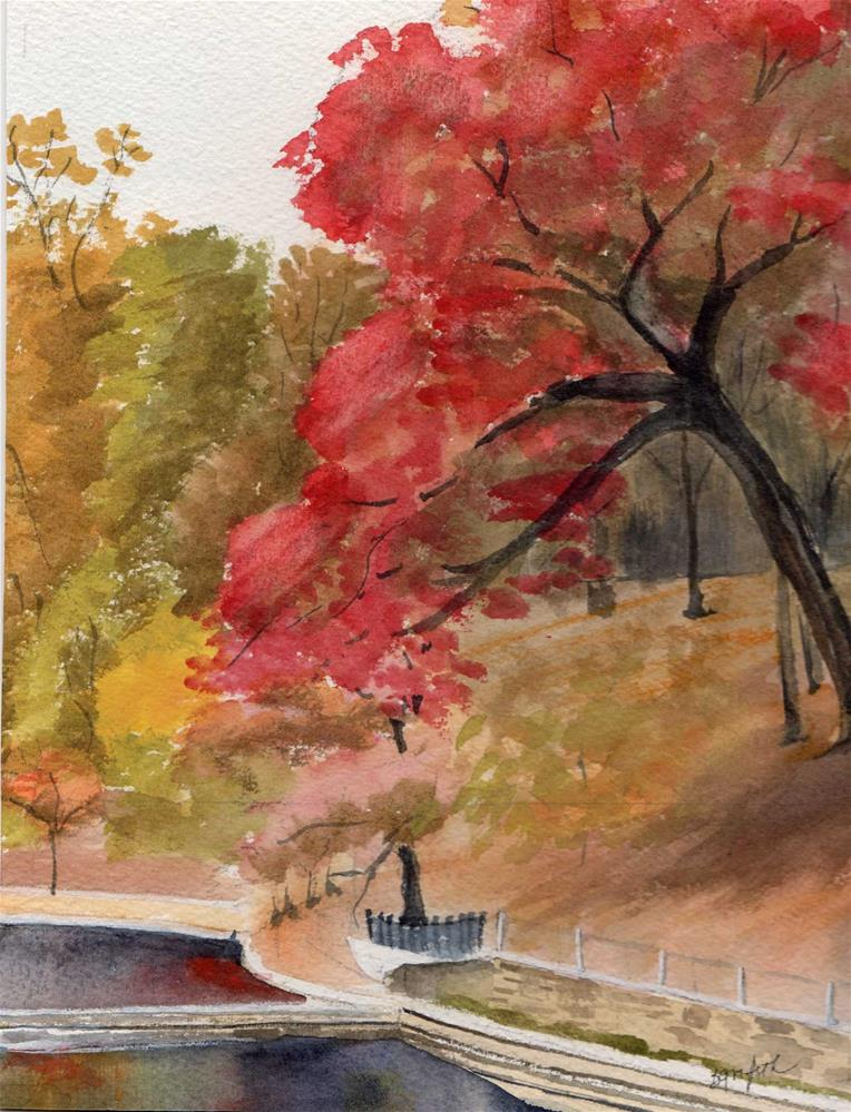 """Fall in the Park"" original fine art by Bunny Griffeth"