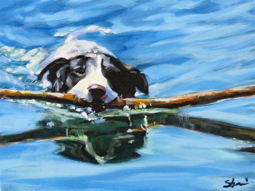 """Fetching Big Sticks"" original fine art by Shari Buelt"