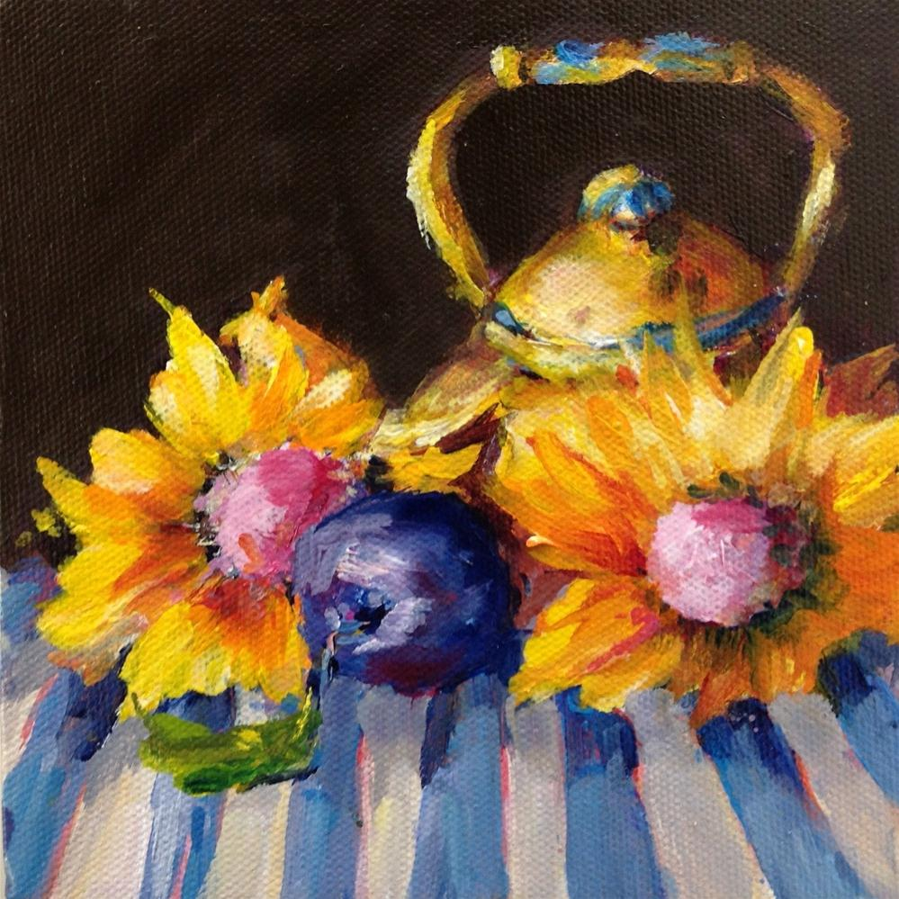 """Original sunflower plum kitchen art still life oil painting"" original fine art by Alice Harpel"