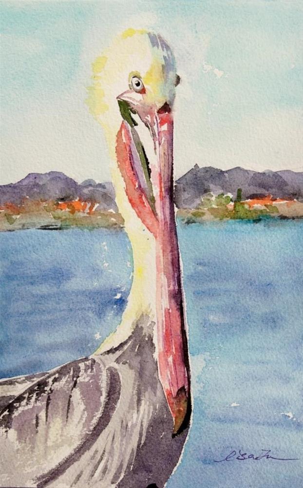 """Pelican at the pier"" original fine art by Lisa Fu"