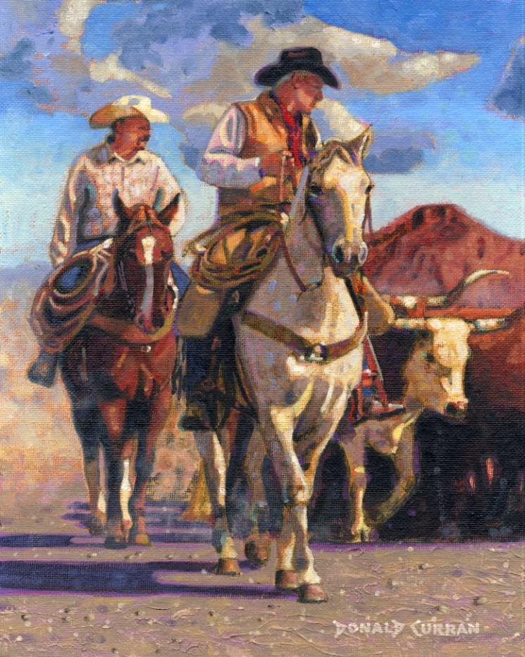 """Herding Cattle"" original fine art by Donald Curran"