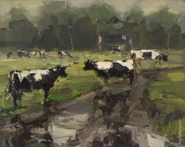 """Beauty on a Rainy Day – Cows and Mud Track"" original fine art by Roos Schuring"