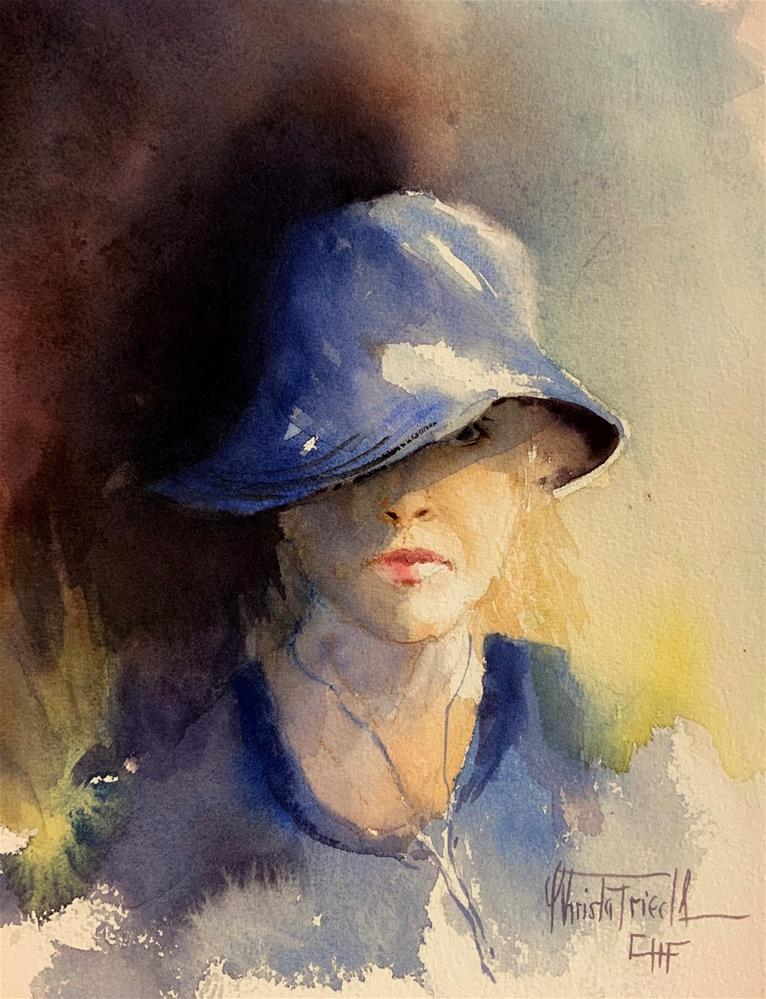 """My new blue hat"" original fine art by Christa Friedl"