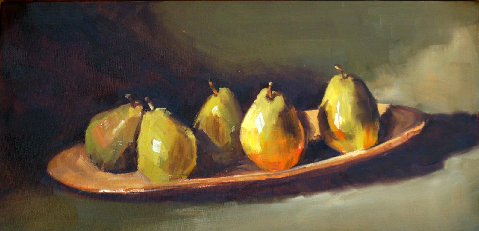"""Pears on Vietri"" original fine art by Carol Carmichael"