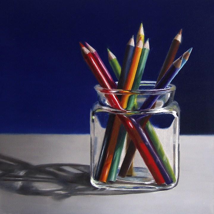 """""""Colored Pencils in Glass Jar"""" original fine art by Nance Danforth"""