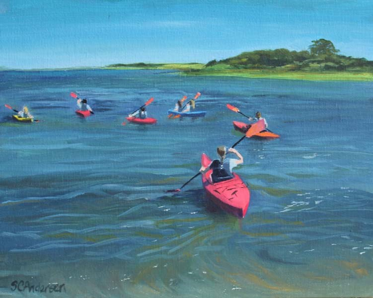 """Vineyard camp outing"" original fine art by Susan Andersen"