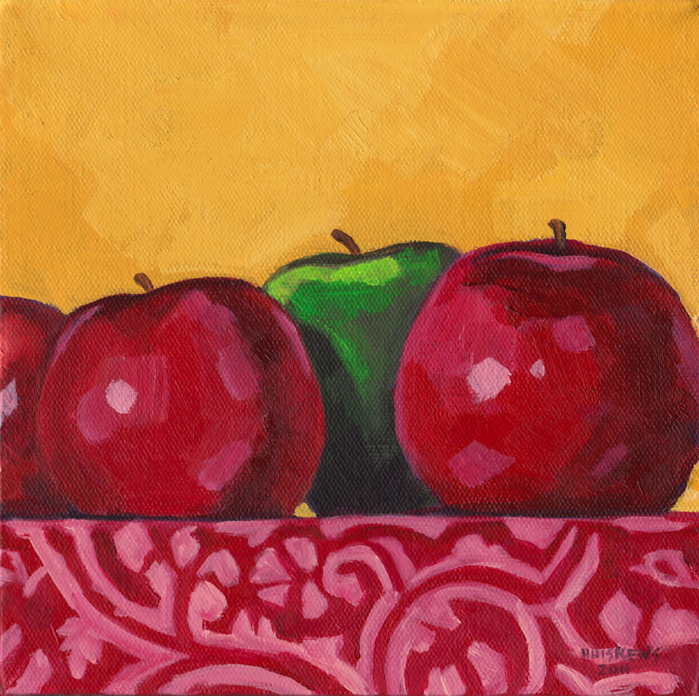 """Green And Red Apples No. 6"" original fine art by Randal Huiskens"