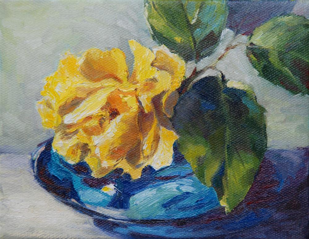 """""""Yellow rose"""" original fine art by Olga Touboltseva-Lefort"""