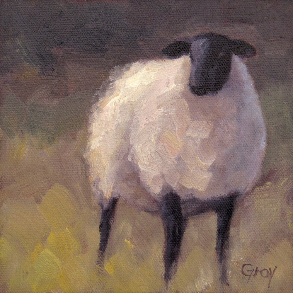 """Winter Sheep in the Twilight"" original fine art by Naomi Gray"