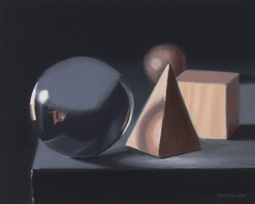 """Crystal Ball With Wood Blocks"" original fine art by Chris Breier"