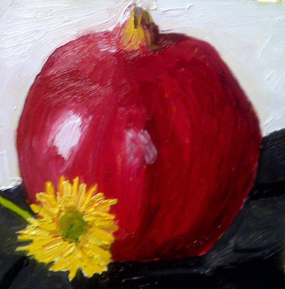 """Pomegranate and friend"" original fine art by Jo Allebach"