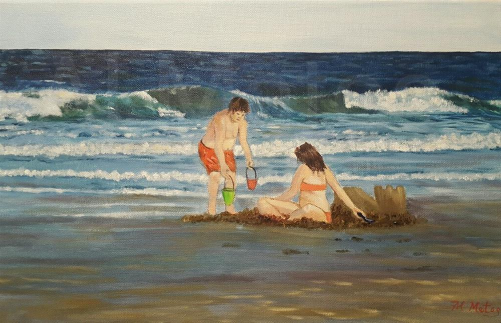 """Building sandcastles"" original fine art by Al Matos"