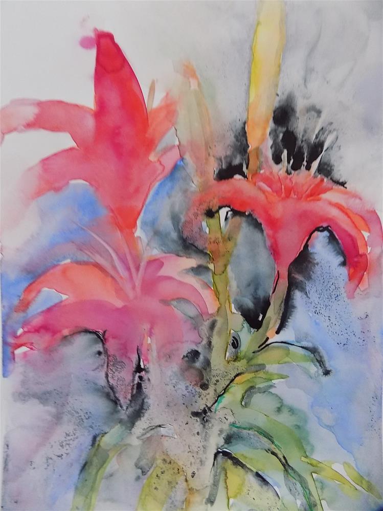 """""""Lilies"""" original fine art by Joan Reive"""