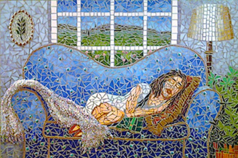 """Mosaic Sleeping Woman"" original fine art by Joetta Currie"