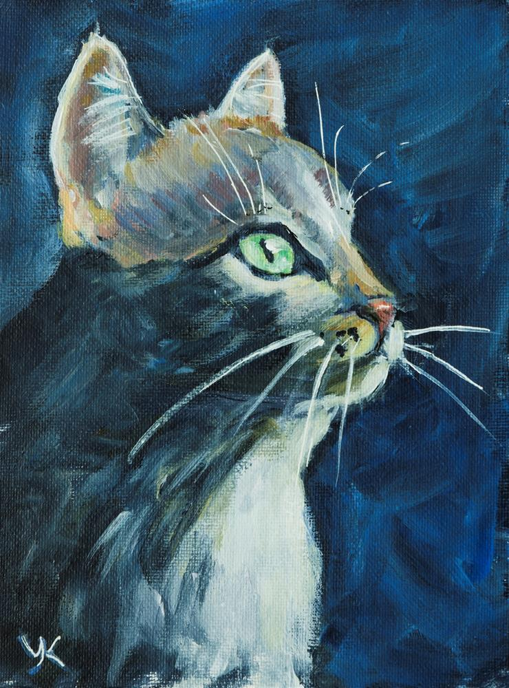 """Cat Stalking"" original fine art by Yulia Kazansky"