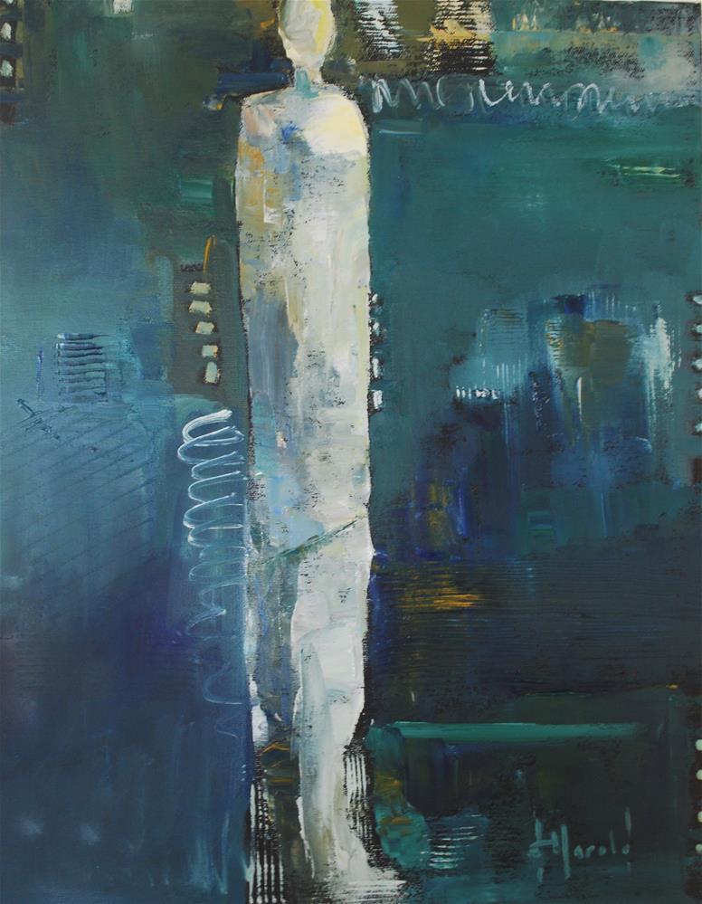 """Abstract Figure In Blue"" original fine art by Deborah Harold"