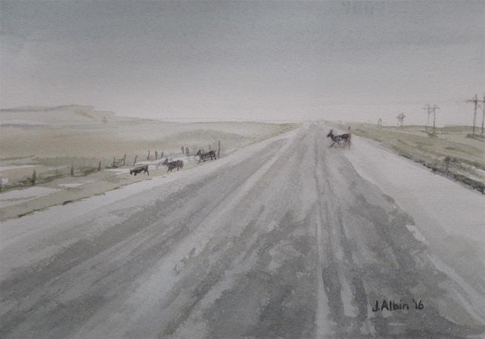 """Quiet Crossing in South Dakota"" original fine art by Jane Albin"