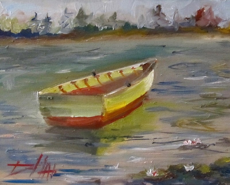 """""""Row Boat on Lily Pond"""" original fine art by Delilah Smith"""