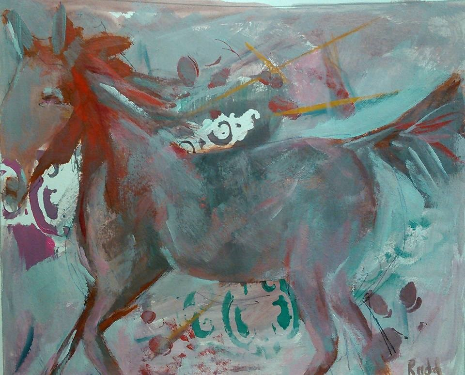 """Horse in Chaos"" original fine art by Ann Rudd"