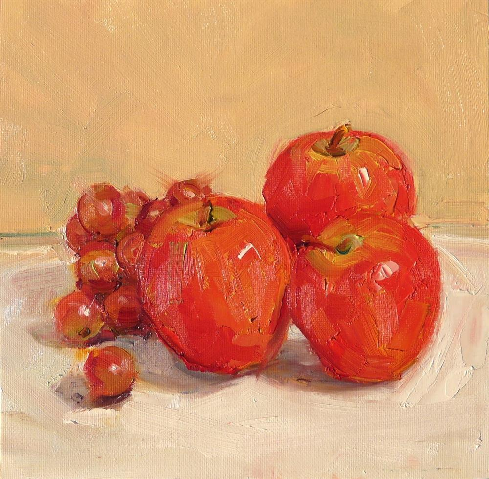 """""""Apples and Grapes,still life,oil on canvas,8x8,price$200"""" original fine art by Joy Olney"""
