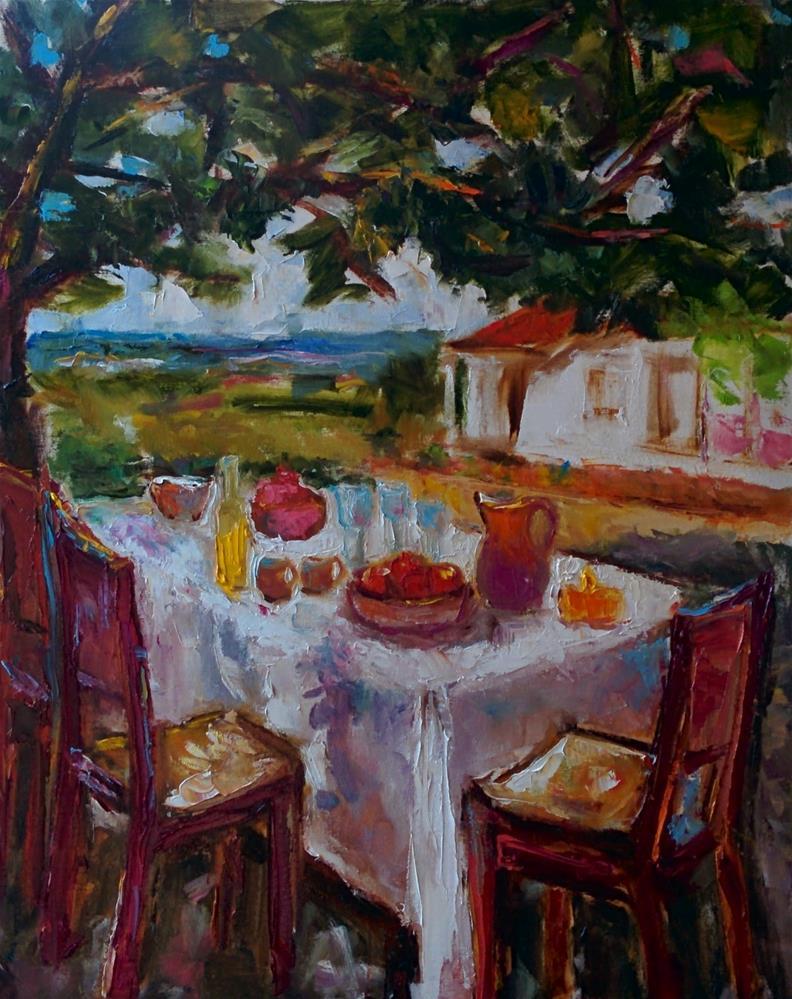 """""""Al Fresco Breakfast"""" original fine art by pepa sand"""