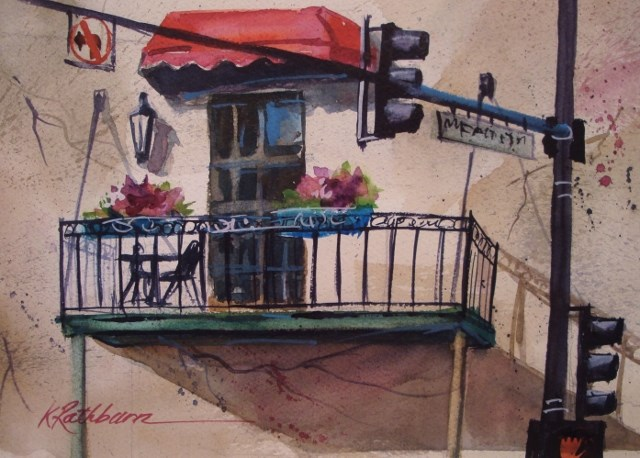 """A Chicago Balcony"" original fine art by Kathy Los-Rathburn"