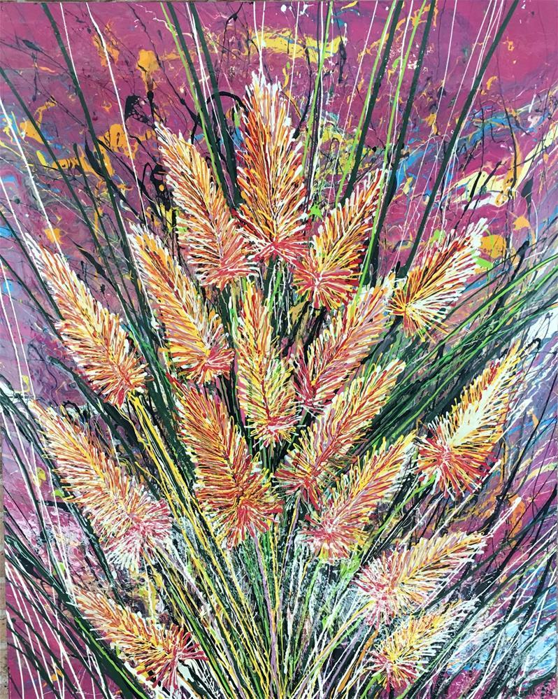 """Flowers of Desert,original flower painting on canvas"" original fine art by Khrystyna Kozyuk"