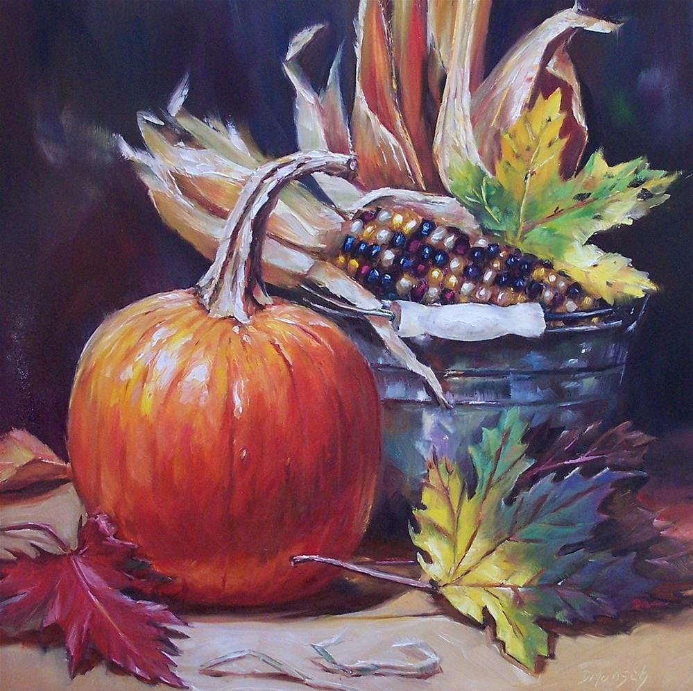 """""""Autumn Pumpkin"""" original fine art by Donna Munsch"""