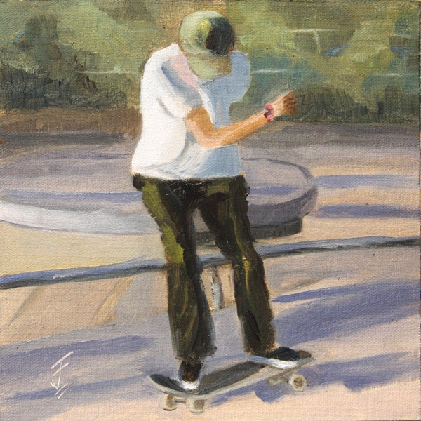"""Skate Board Ride"" original fine art by Jane Frederick"