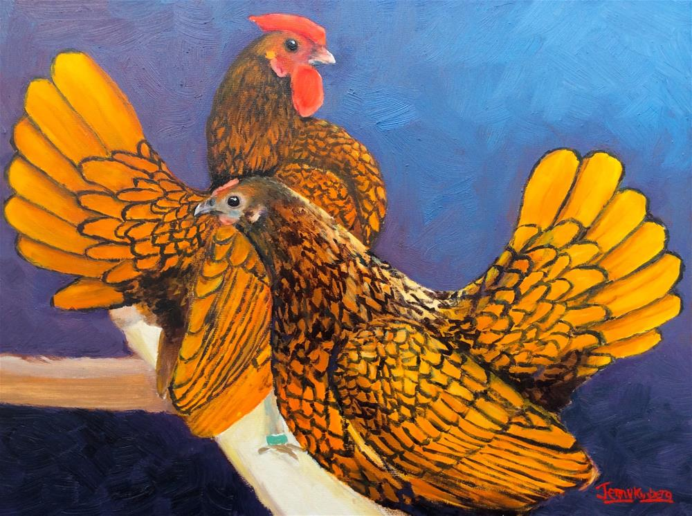"""""""Golden Sebright Pair"""" original fine art by Jenny Kinberg"""