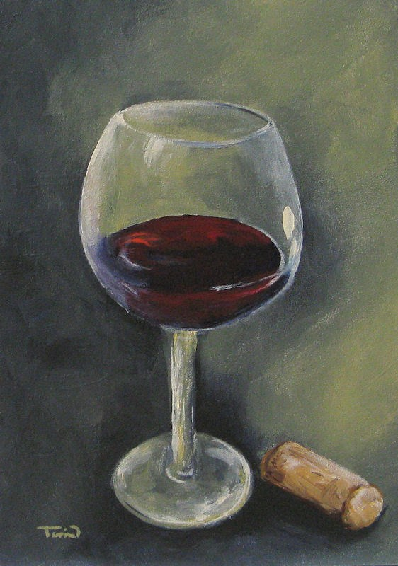 """Glass of Sweet Red"" original fine art by Torrie Smiley"
