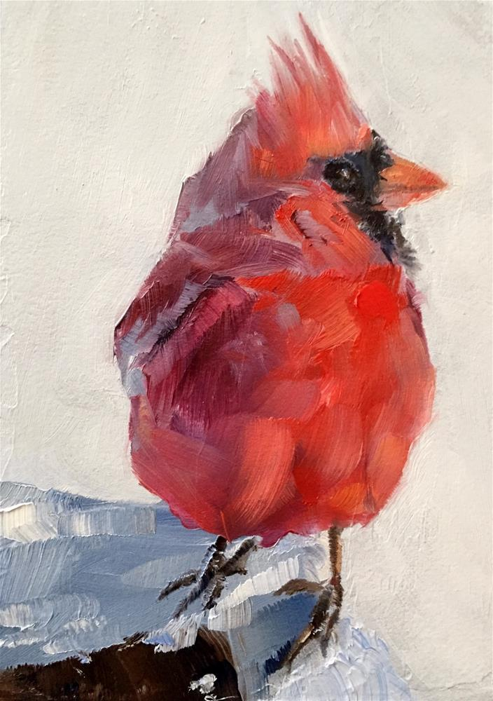 """Snow Day Cardinal"" original fine art by Gary Bruton"