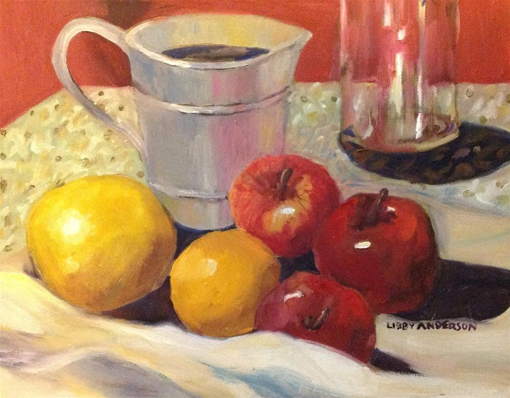"""Tin Pitcher andFruit"" original fine art by Libby Anderson"